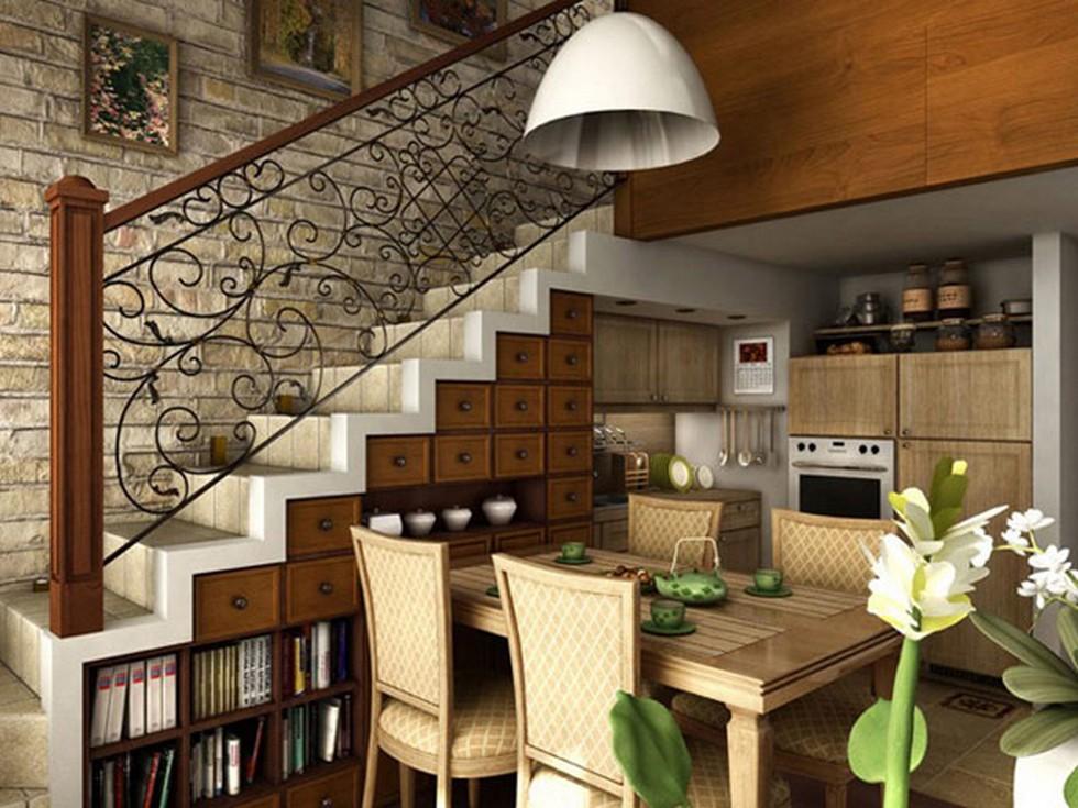 Extravagant-shelf-space-under-the-stairway