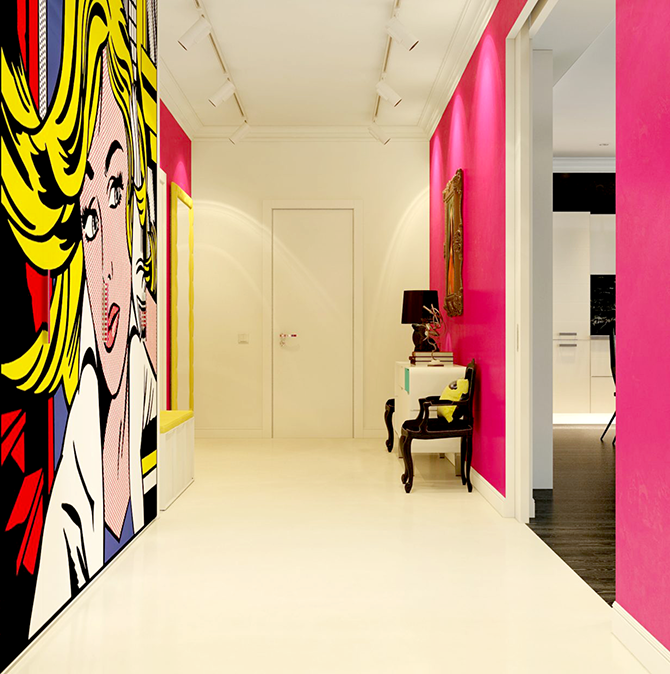 """""""pop art hall""""  12 Inspirational pop art to apply in your interiors  great ways to design your interiors with pop art style 1"""