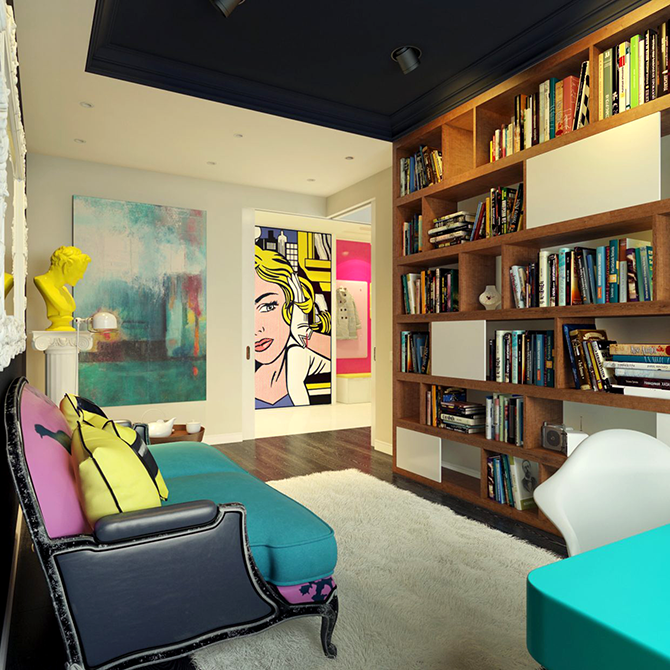 """""""colorful sitting room""""  12 Inspirational pop art to apply in your interiors  great ways to design your interiors with pop art style 4"""