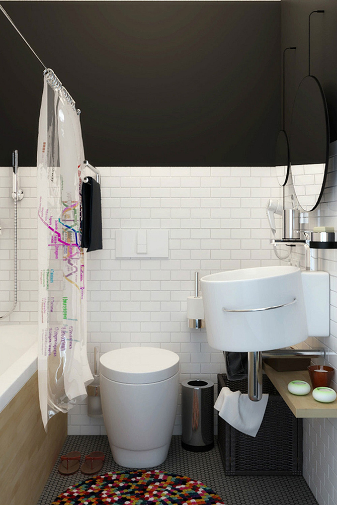 Compact-bathroom-in-white  10 ways to decorate a small appartment with industrial style  Compact bathroom in white
