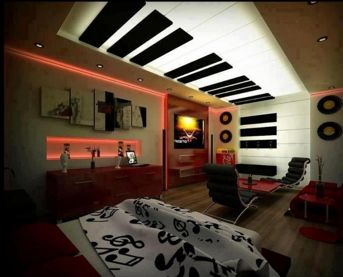 10 Interesting Music Themed Bedrooms | Vintage Industrial ...