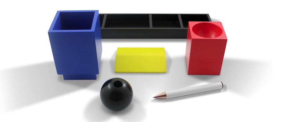 Desk Set Inspired by Vintage Toys & Bauhaus Colors