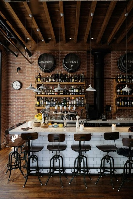 Inspiring Industrial Bar Decoration