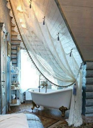 Top quality shabby chic style decorating ideas   Creative place to hang curtains