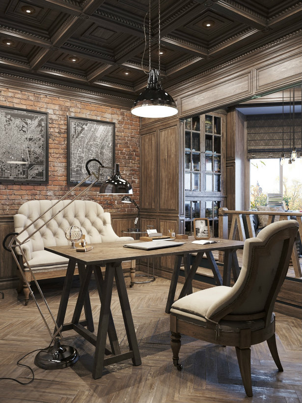 Offices with an industrial interior design touch vintage - Vintage industrial interior design ...