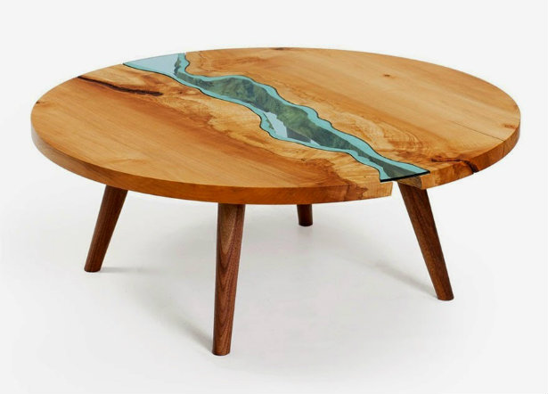 Wooden Coffee Table Design With Gl Rivers And Lakes