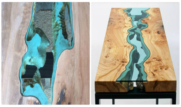 Wooden coffee table design with Glass Rivers and Lakes