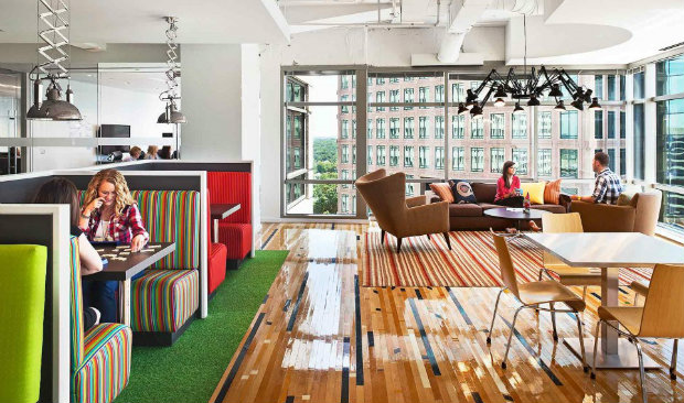 Colorful Office in Atlanta Shines with Industrial Style Lighting 1