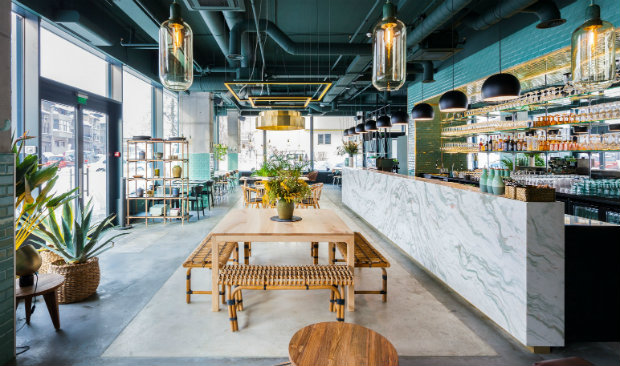 Industrial Style Restaurant with a Greenery-Themed Decor FEAT