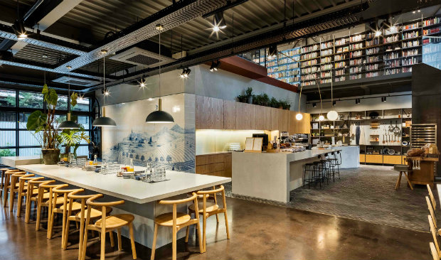Cook Library in Seoul Features Marble Countertops & Industrial Lamps FEAT