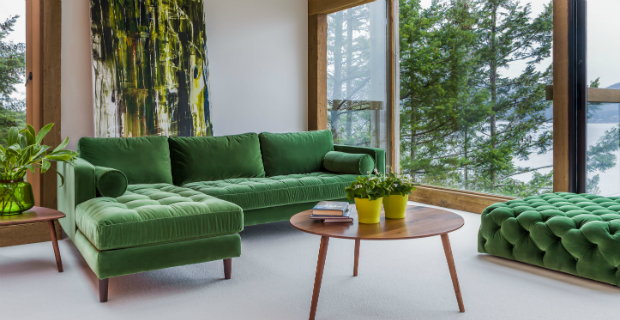 The perfect marriage between green decor and upholstery
