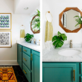 Vintage Decor Bathroom With Bold Colors and Geometric Shapes